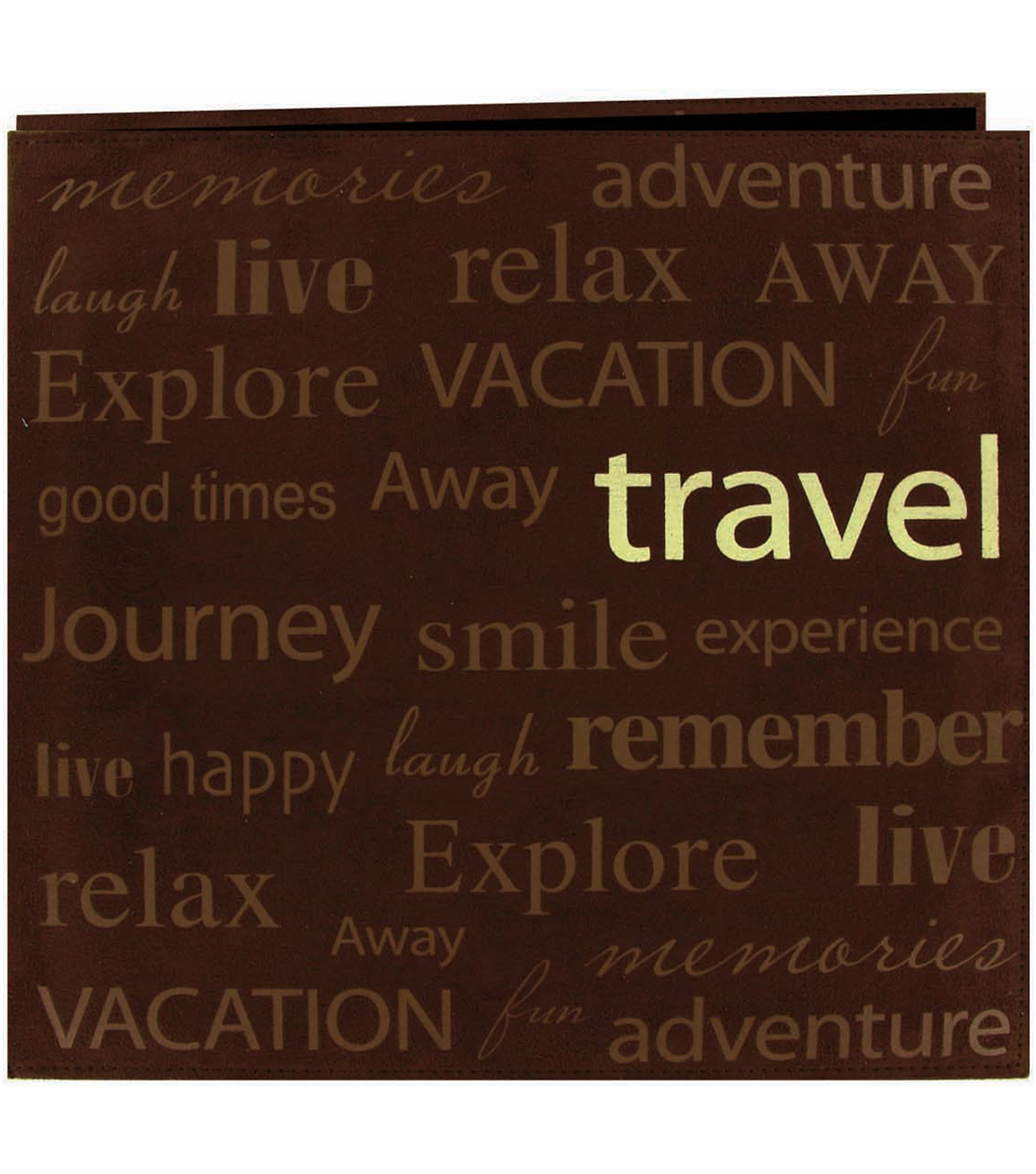 Text Faux Suede Scrapbook 12\u0022X12-Travel