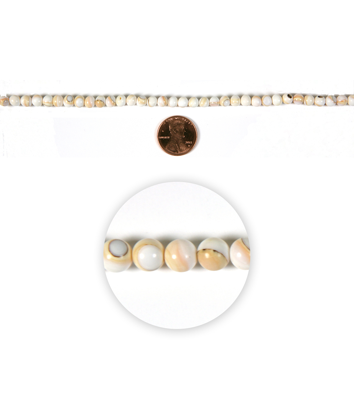 Blue Moon Strung Natural Shell Beads,Round,Natural Ivory/Peach