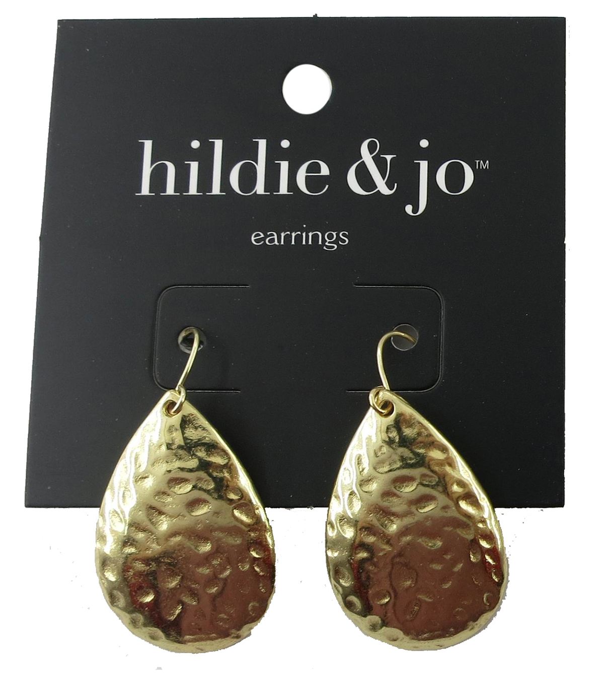 hildie & jo 1.25\u0027\u0027x0.75\u0027\u0027 Hammered Teardrop Gold Earrings