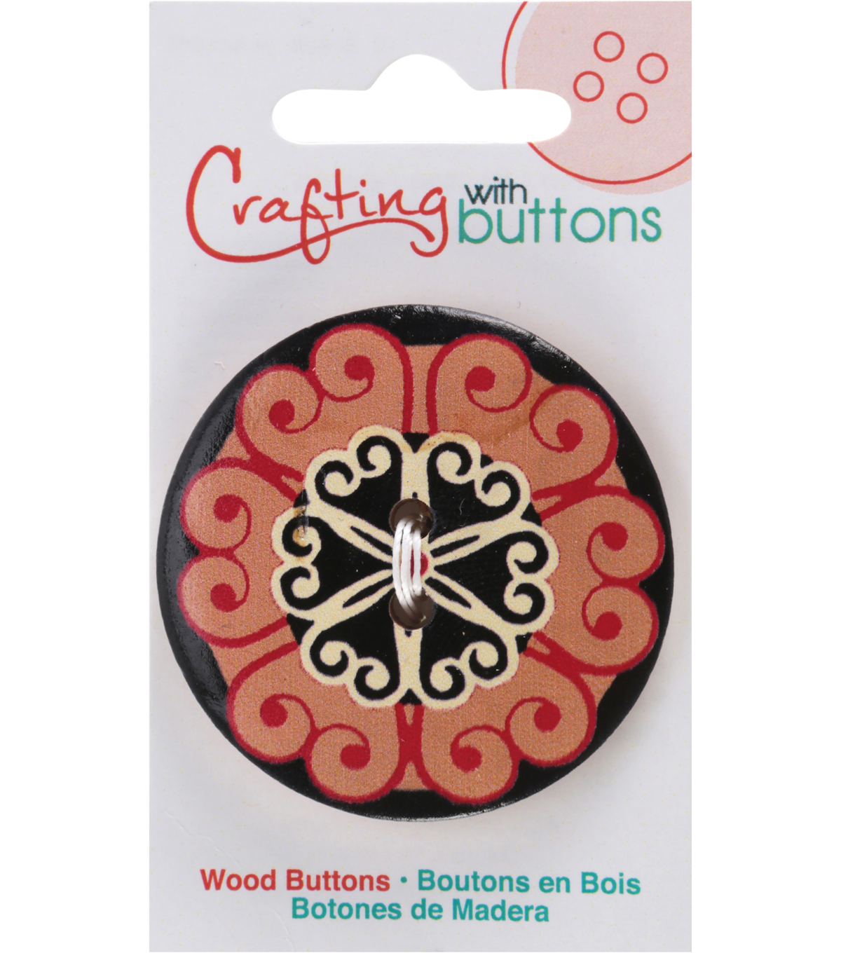 Crafting with Buttons Global Chic 1.75\u0027\u0027 Wood Button-Portugal