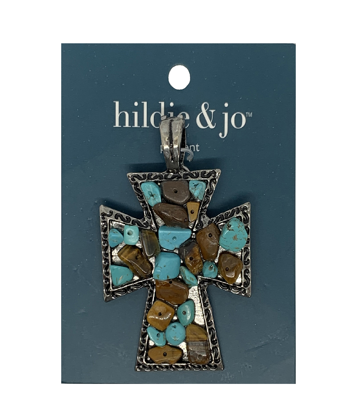 Blue Moon Beads Silver Metal Pendant-Turquoise Stones