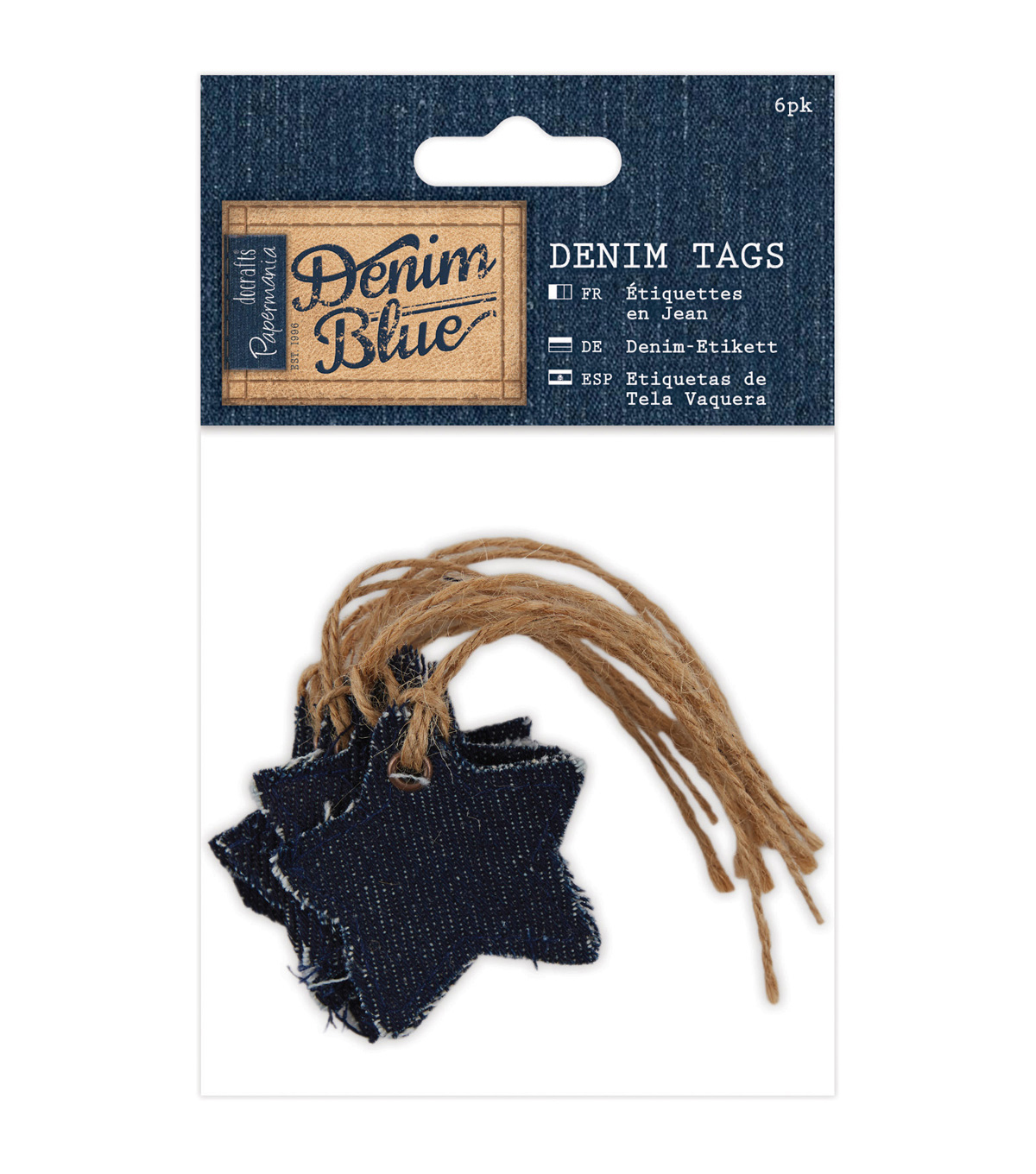 Papermania Denim Blue 6ct Tags-Star