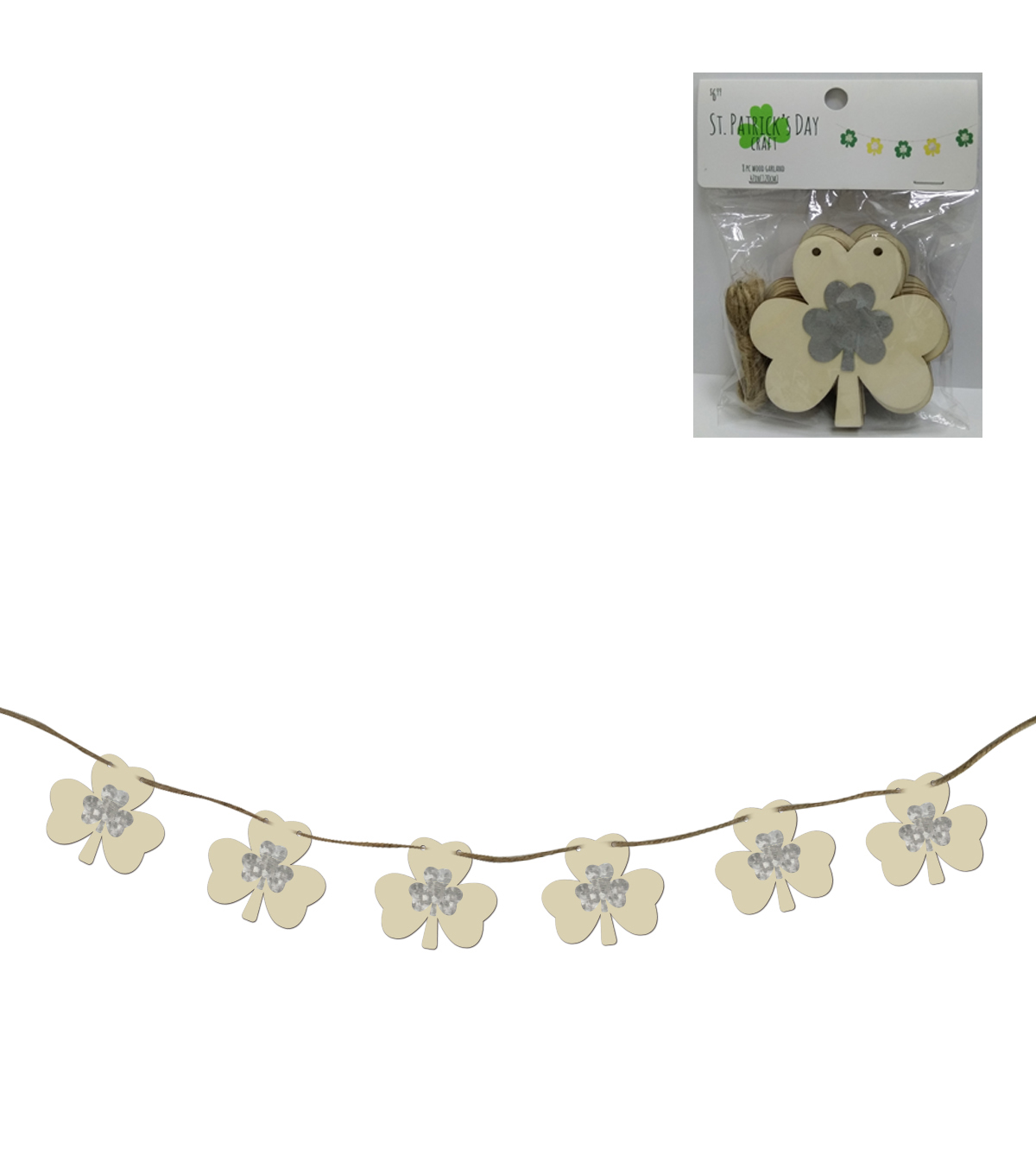 St. Patrick\u0027s Day Craft Wood with Metal Shamrock Garland