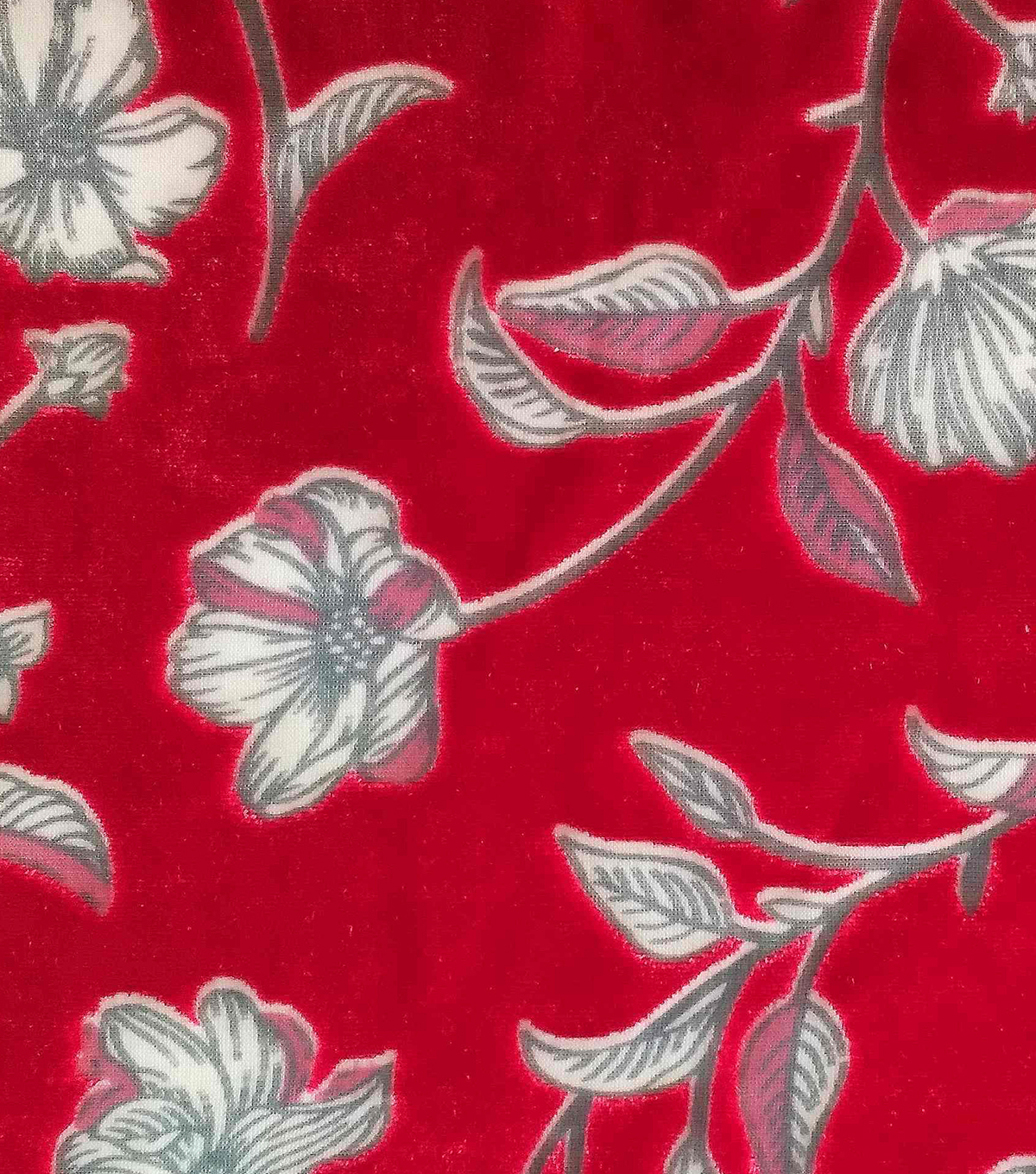 Silky Velvet Burnout Fabric-Tossed Floral on Red