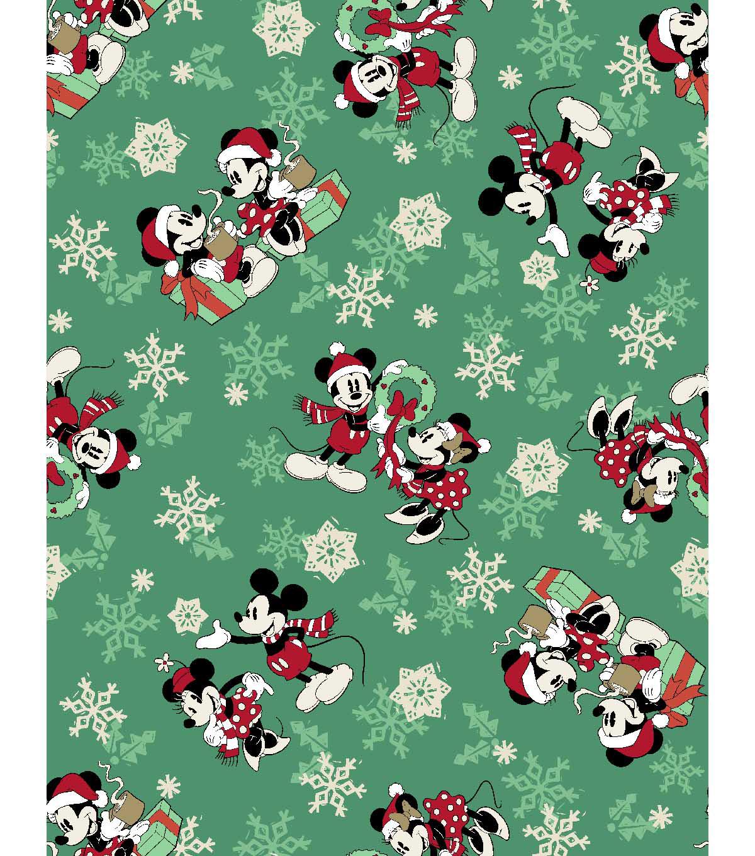 b4f6adc7 Disney Cotton Print Fabric -Snowflakes, Mickey & Minnie Mouse