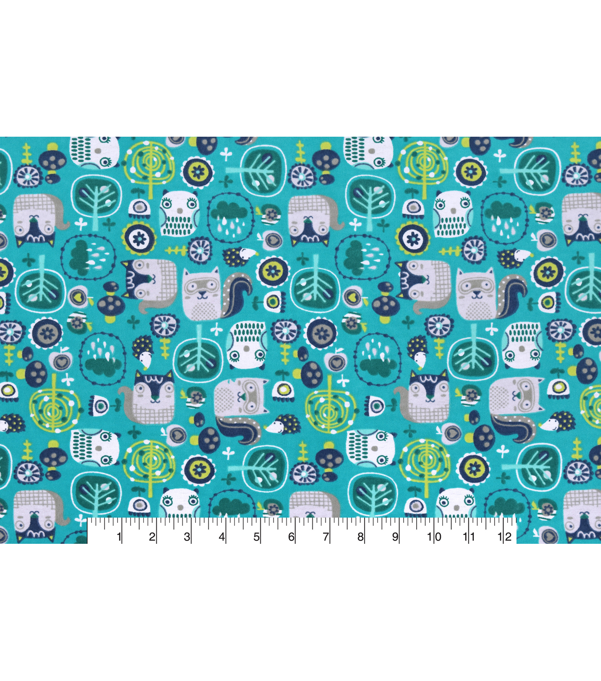 Snuggle Flannel Fabric -Woodland Owl Friends