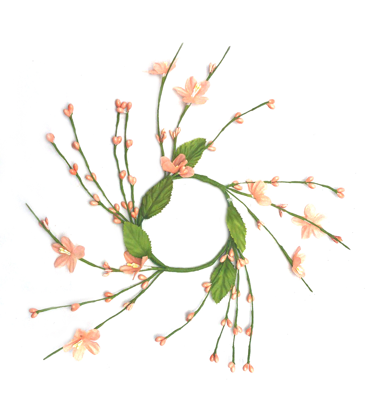 Fresh Picked Spring 3.5\u0022 Wildflower Mini Wreath-Peach