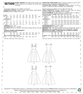 McCall\u0027s Pattern M7599 Misses\u0027 Lined Fit & Flare Dresses with Petticoat