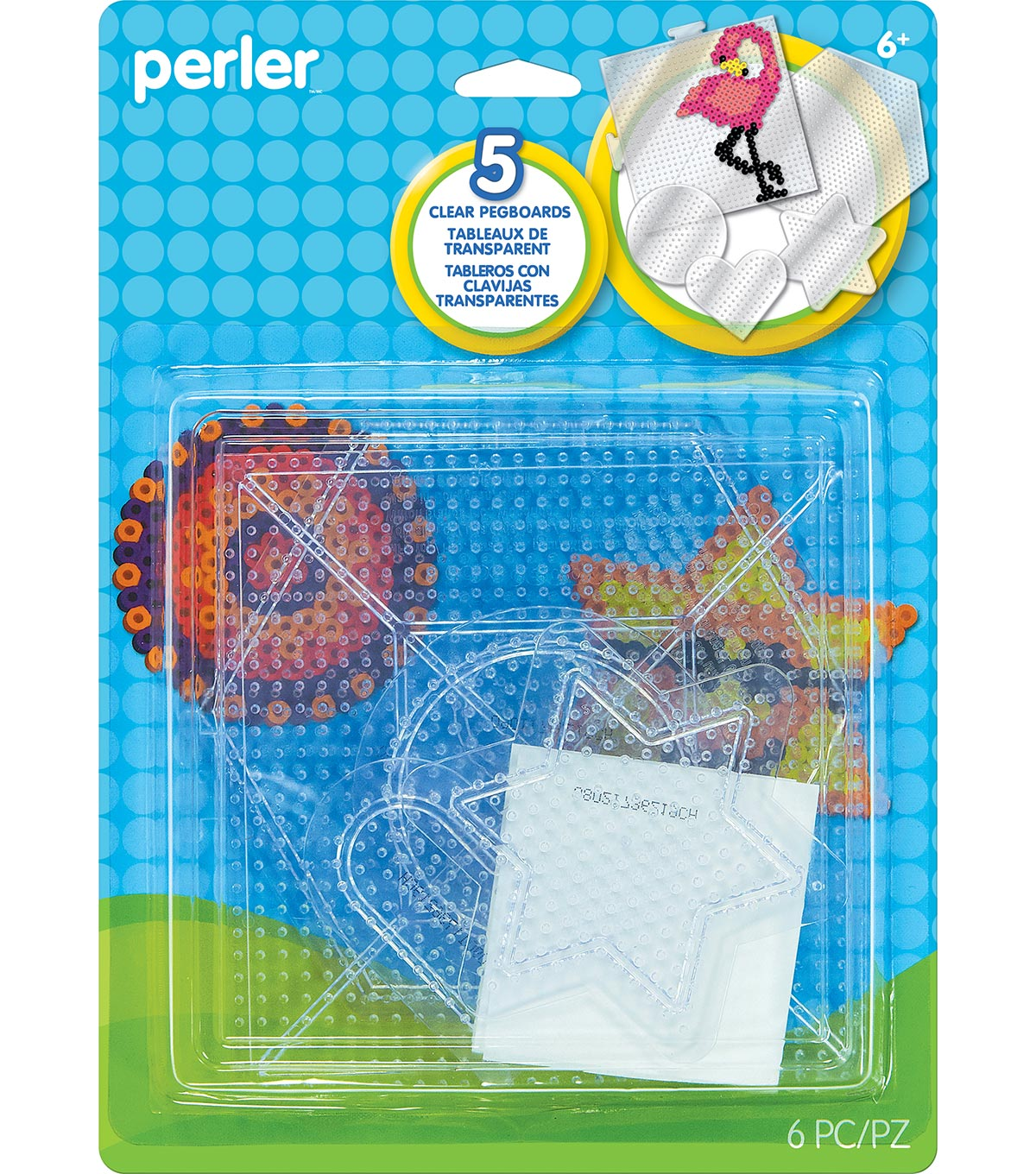 Perler 5 pk Pegboards-Clear