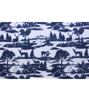Blizzard Fleece Fabric 59\u0022-Navy Grey Deer
