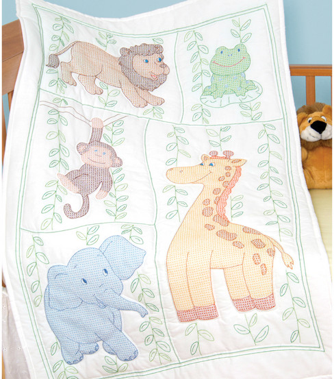 Stamped White Quilt Crib Top 40\u0022X60\u0022-Jungle Fun