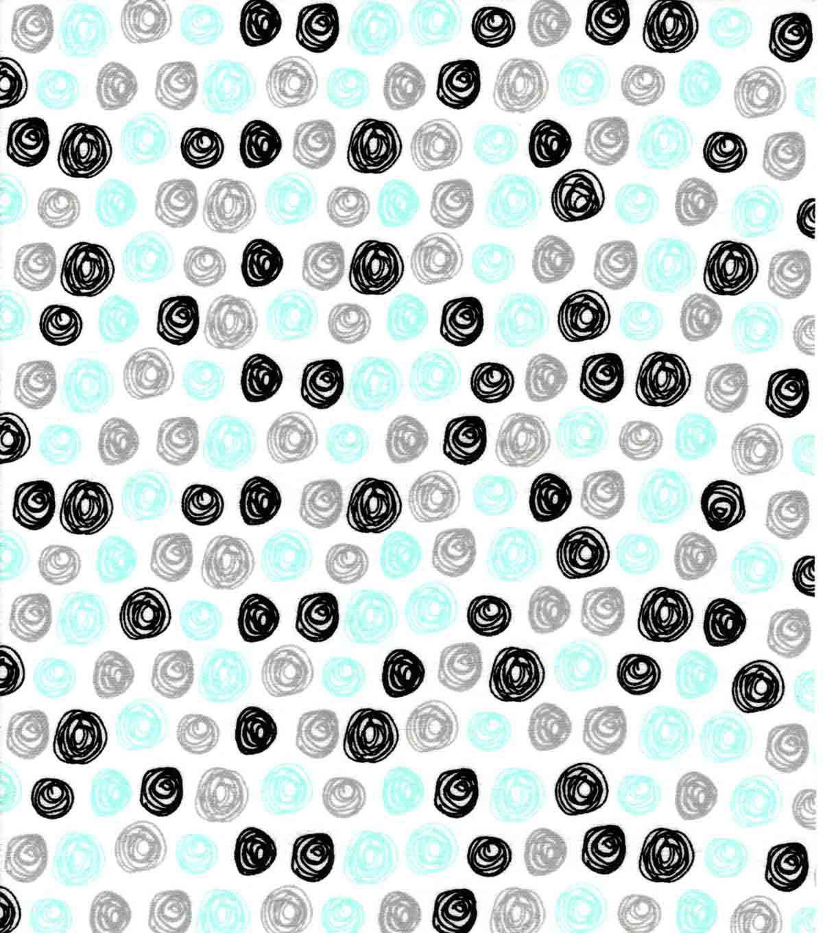 Nursery Flannel Fabric-Gray Blue Sketched Dots