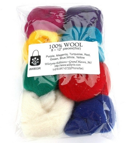 Wistyria Editions Roving Felting Wool, Purple/magenta/turquoise/red/g