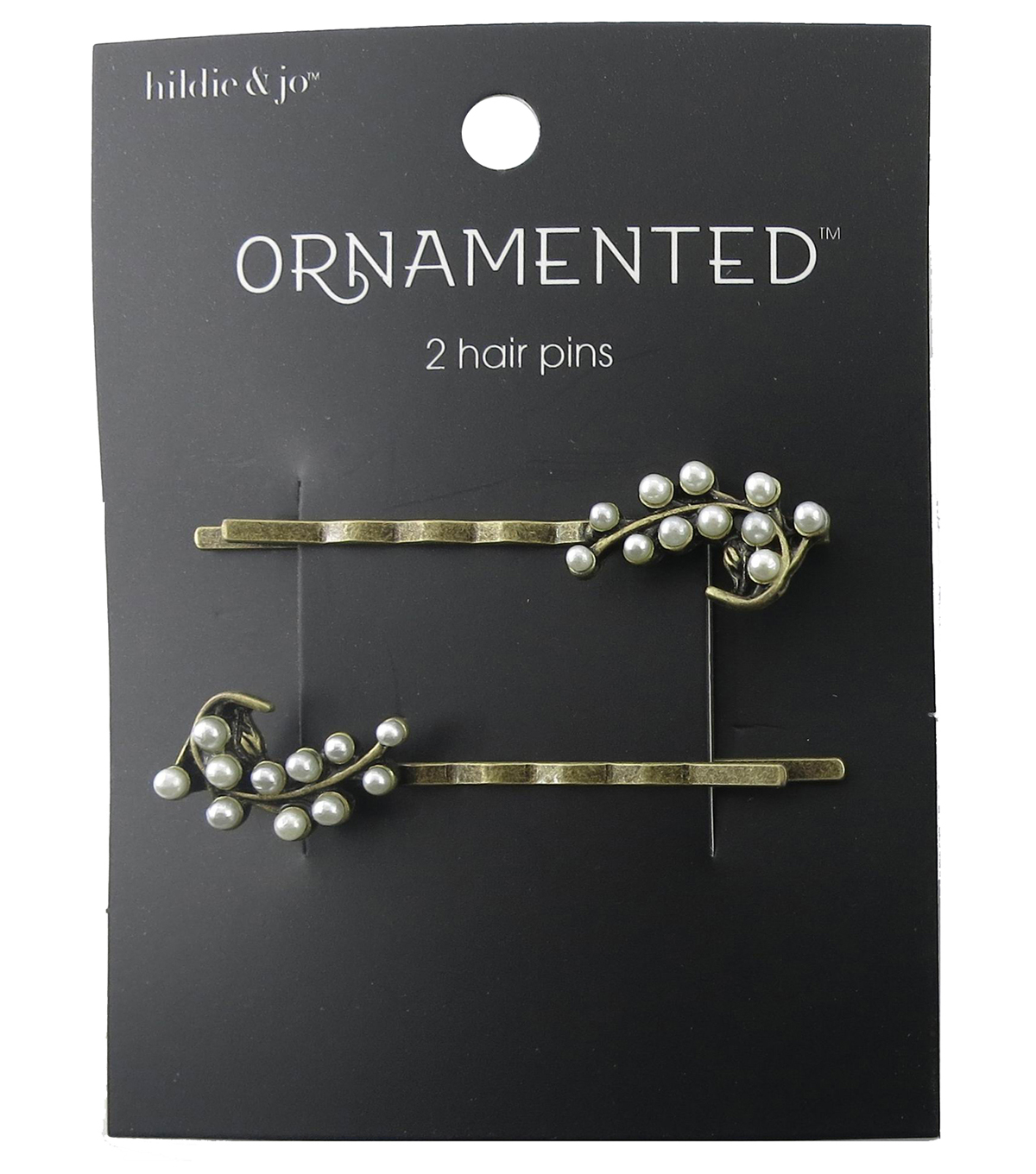 hildie & jo Ornamented 2 Pack Leaf Antique Gold Hair Pins-Pearl