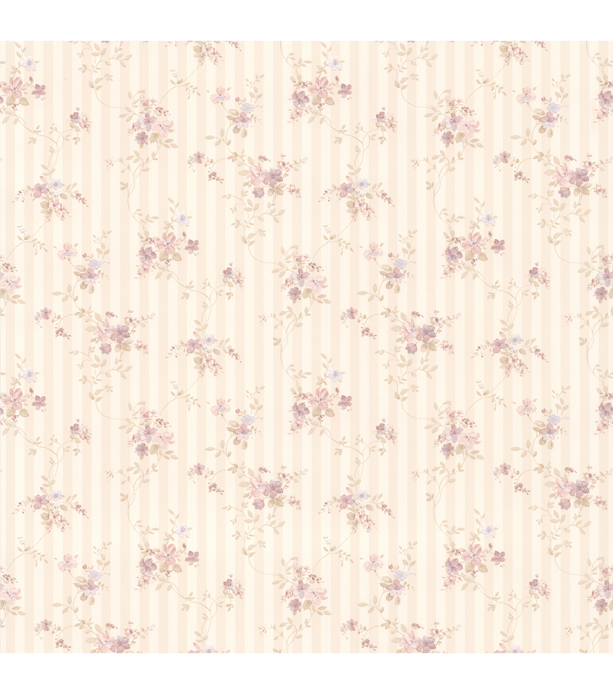 Delilah Mauve Floral Stripe Wallpaper
