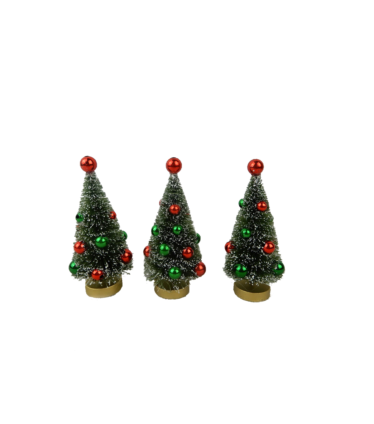 Maker\u0027s Holiday Christmas 3 pk 2\u0027\u0027x4\u0027\u0027 Trees with Ornaments-Red & Green