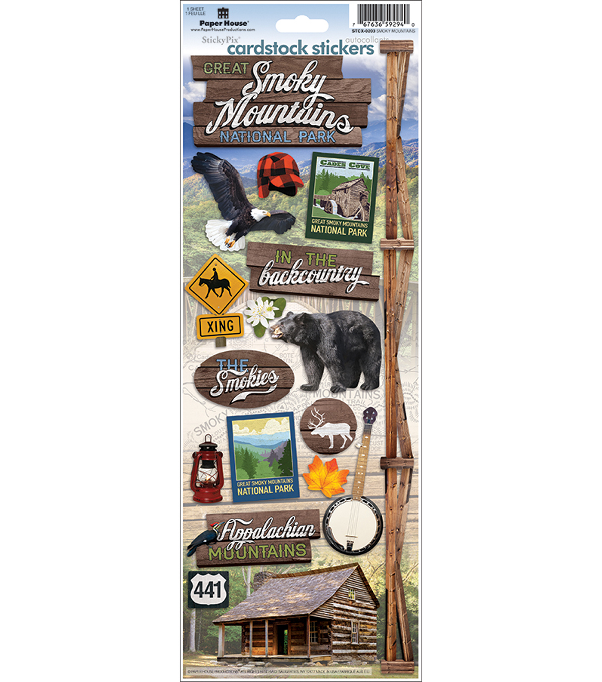 Paper House Cardstock Stickers 4.6\u0022X13\u0022-Great Smoky Mountains