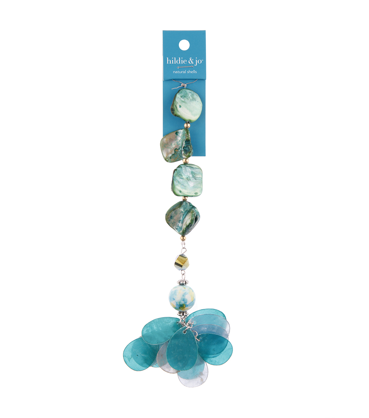 hildie & jo 7\u0022 Shell Strung Beads-Blue & Green
