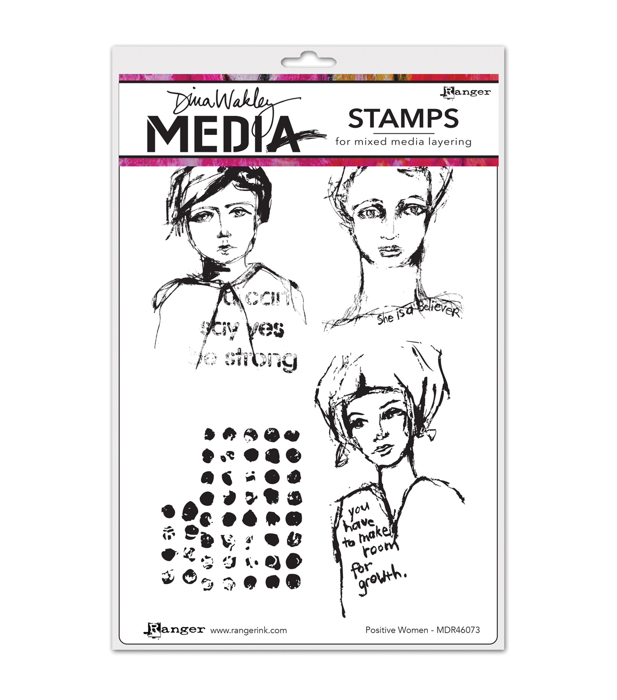 Ranger Dina Wakley Positive Women Media Cling Stamps