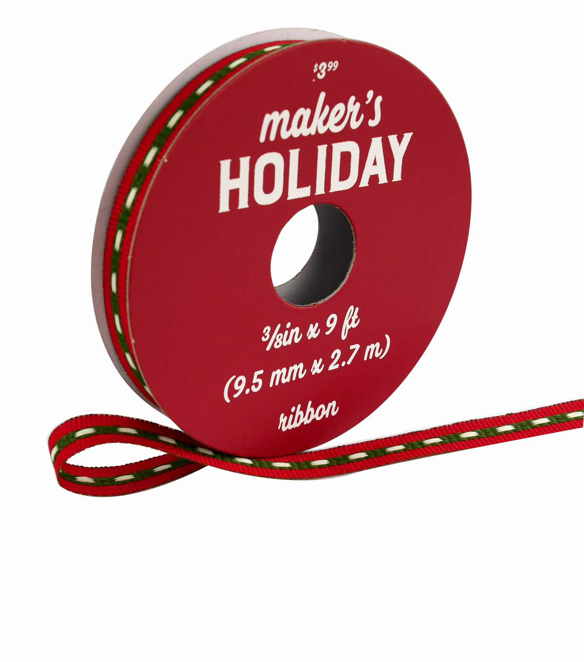 Maker\u0027s Holiday Ribbon 3/8\u0027\u0027x9\u0027-Green & Ivory Center Stitch on Red