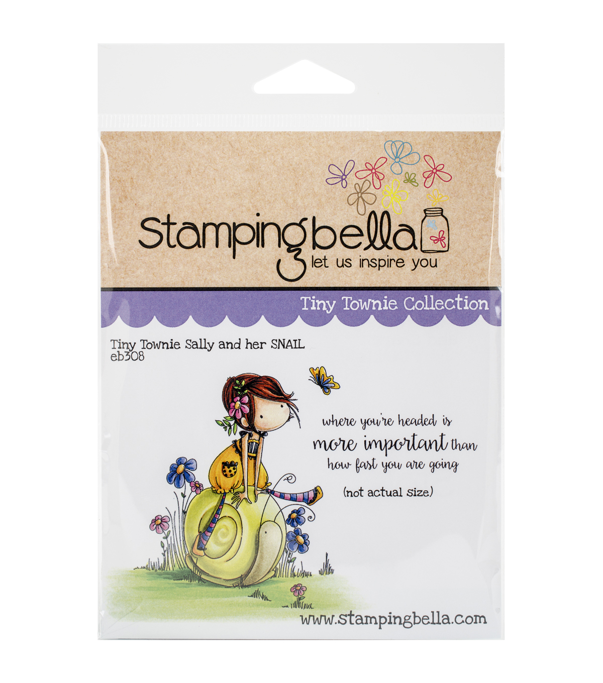 Stamping Bella Cling Rubber Stamp-Tiny Townie Sally & Her Snail