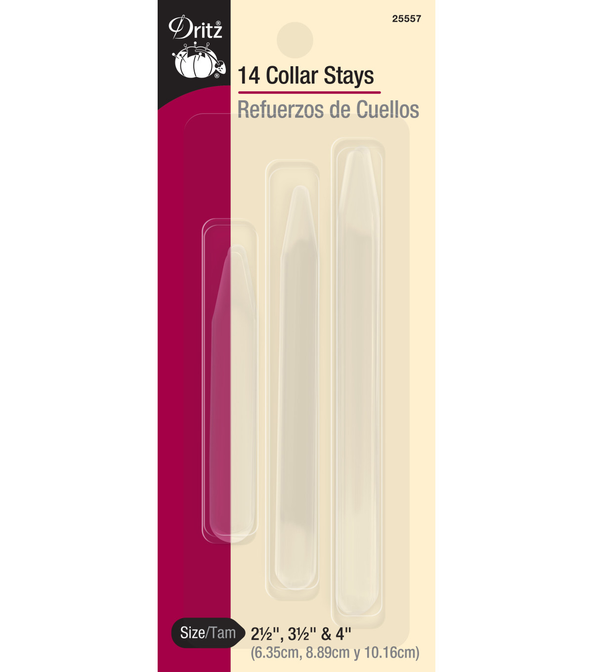 Dritz Collar Stays 14/Pkg-3 Sizes