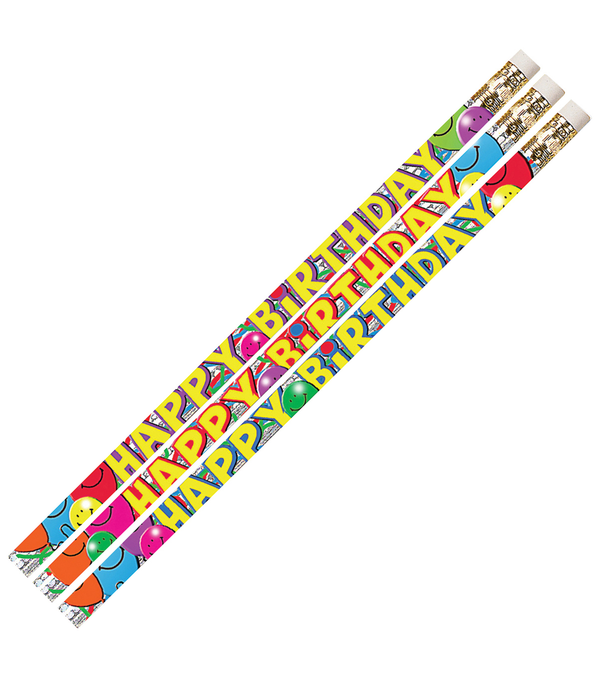 Musgrave Pencil Company 144 pk Pencils with Erasers-Birthday Bash