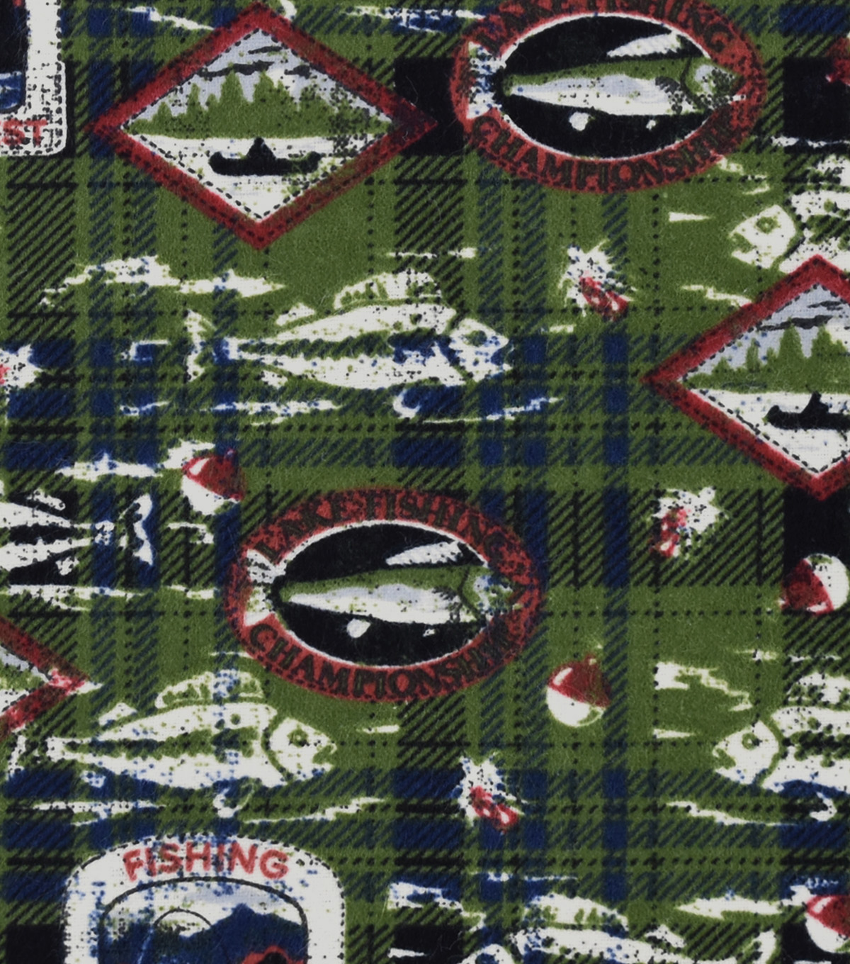 Snuggle Flannel Fabric 42\u0027\u0027-Fishing Patches on Plaid