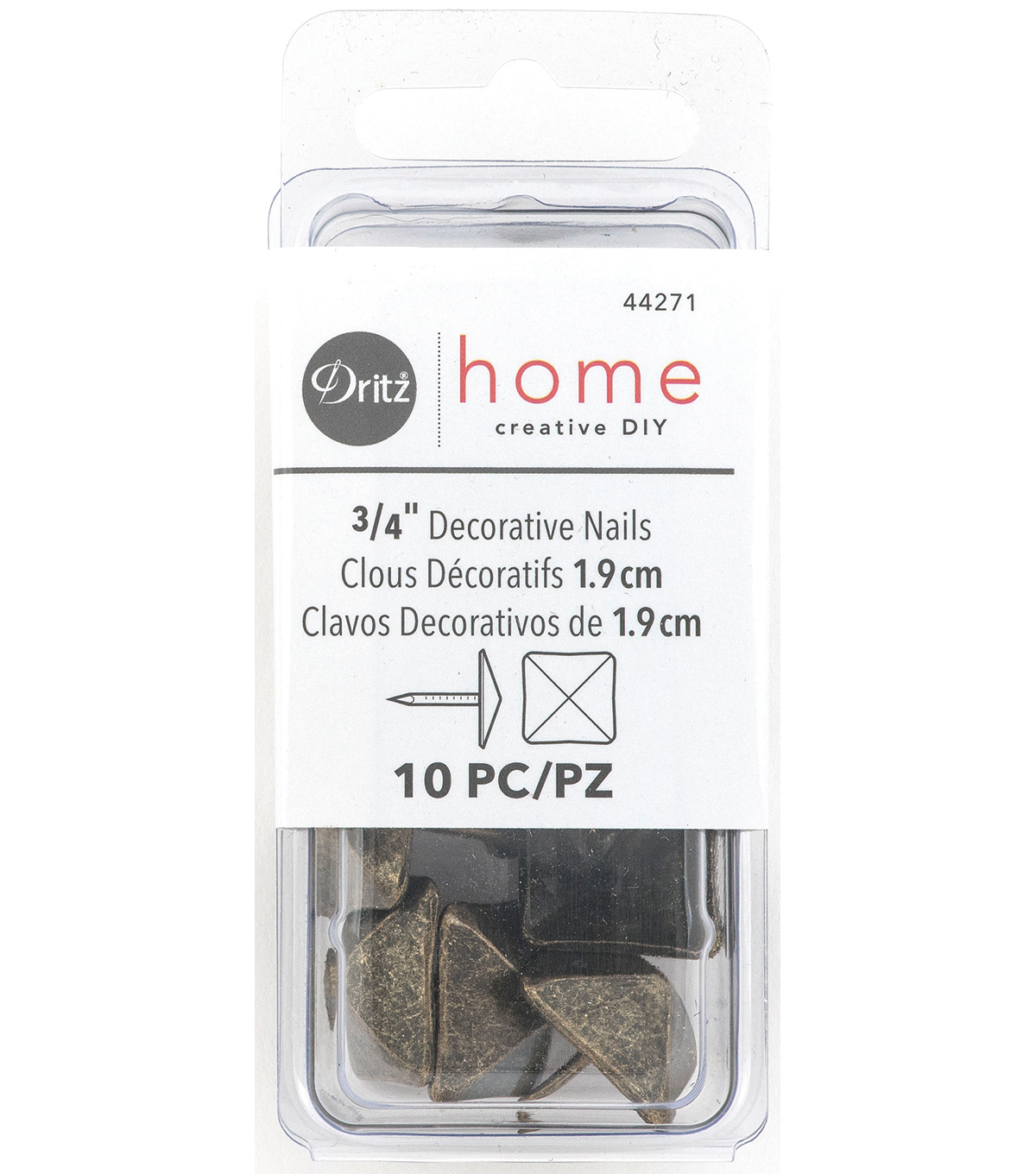 Dritz Home Decorative Tacks Square Antique Gold