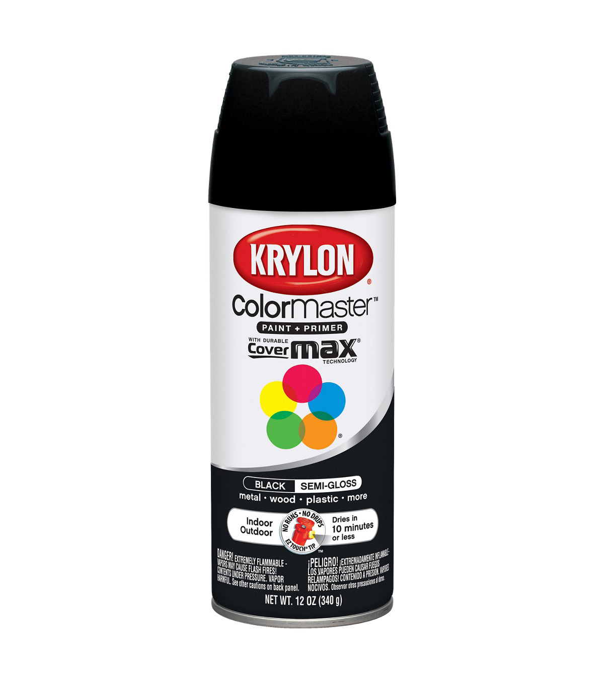 Krylon ColorMaster 12 oz. Indoor/Outdoor Semi-Gloss Paint + Primer-Black