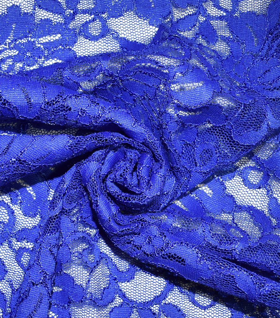 Casa Collection Stretch Foiled Lace Fabric 54\u0027\u0027, Dazzling Blue