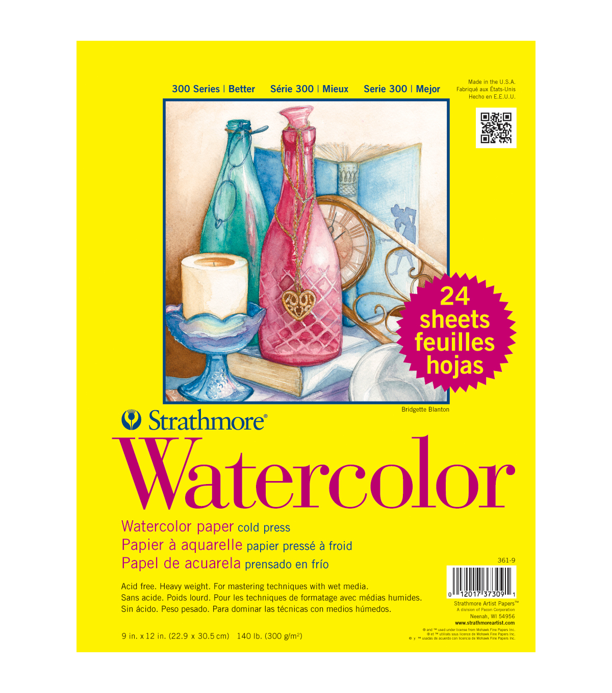 Strathmore Watercolor Paper Classpack 9\u0022X12\u0022-140lb Cold Press 24 Sheets