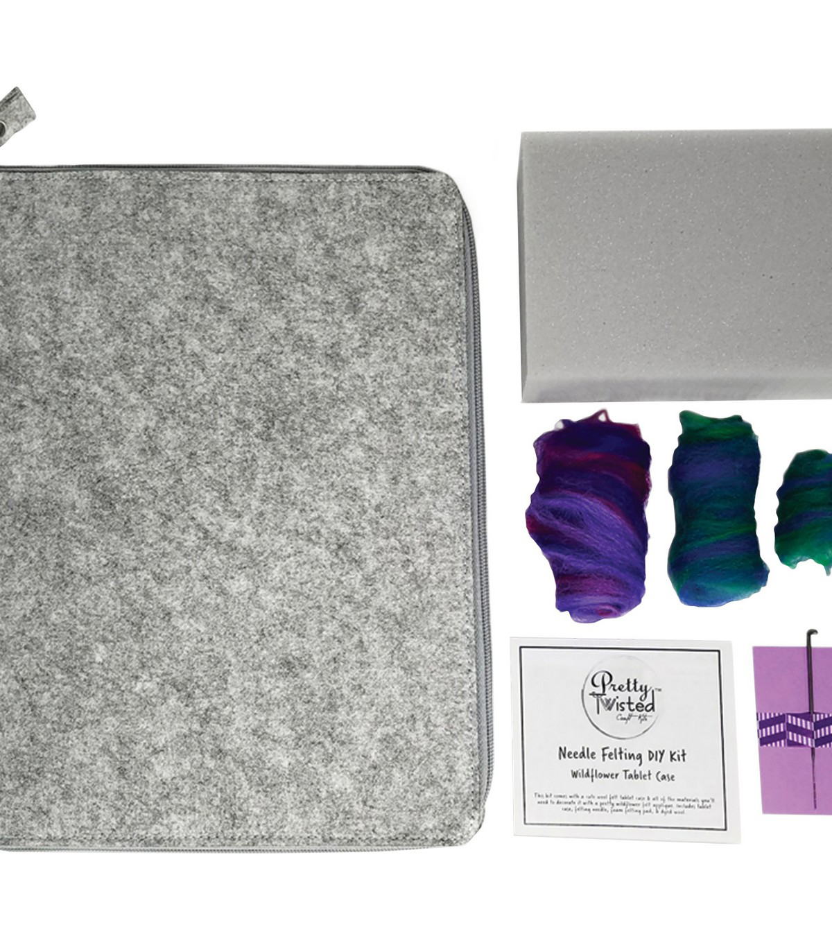 Pretty Twisted Needle Felting DIY Kit-Wildflower Tablet Case