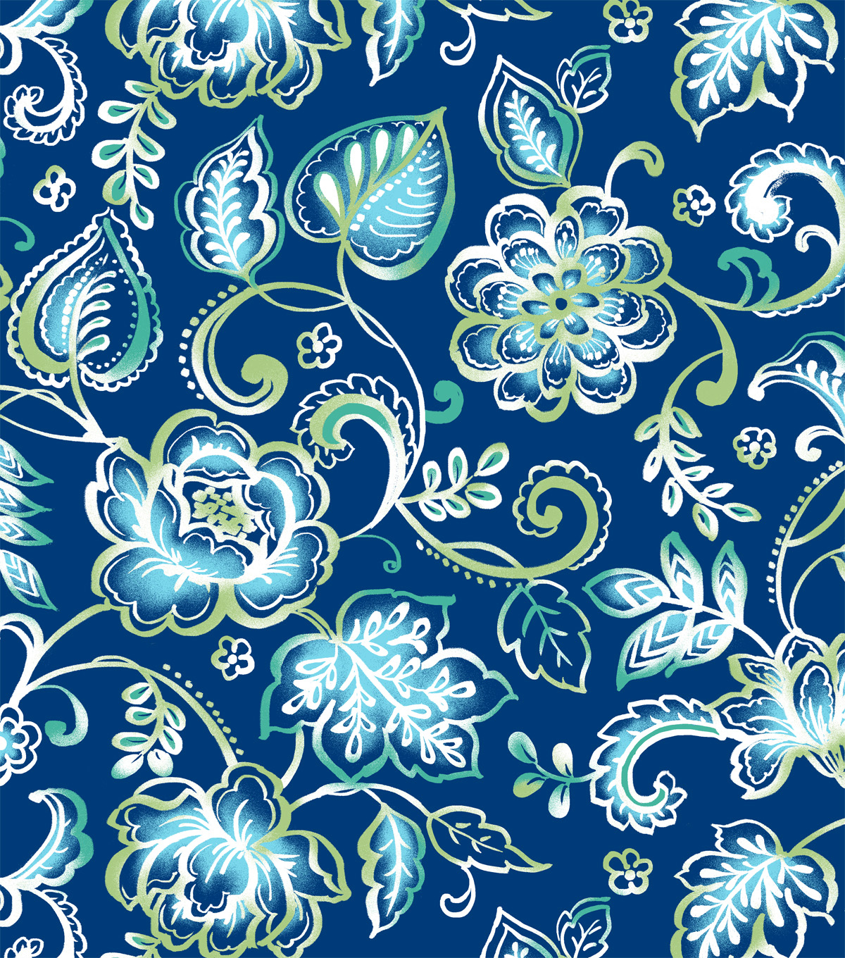 Snuggle Flannel Fabric -Blue & Green Floral