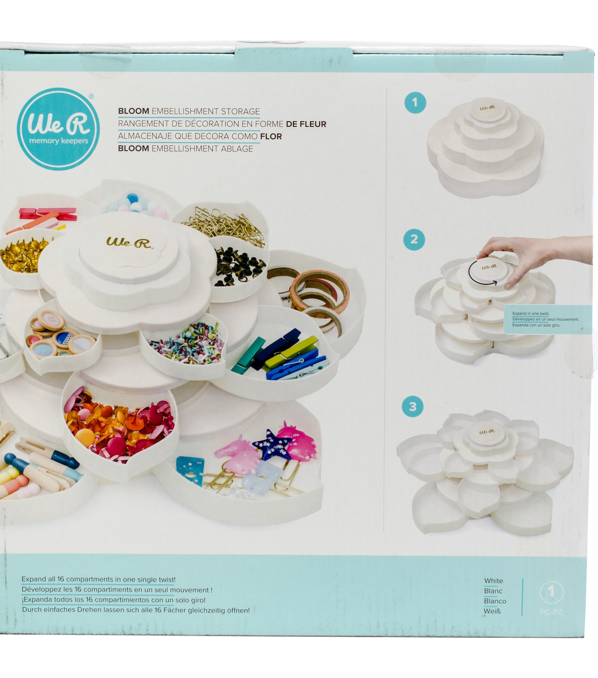 We R Memory Keepers Bloom Embellishment Storage-White