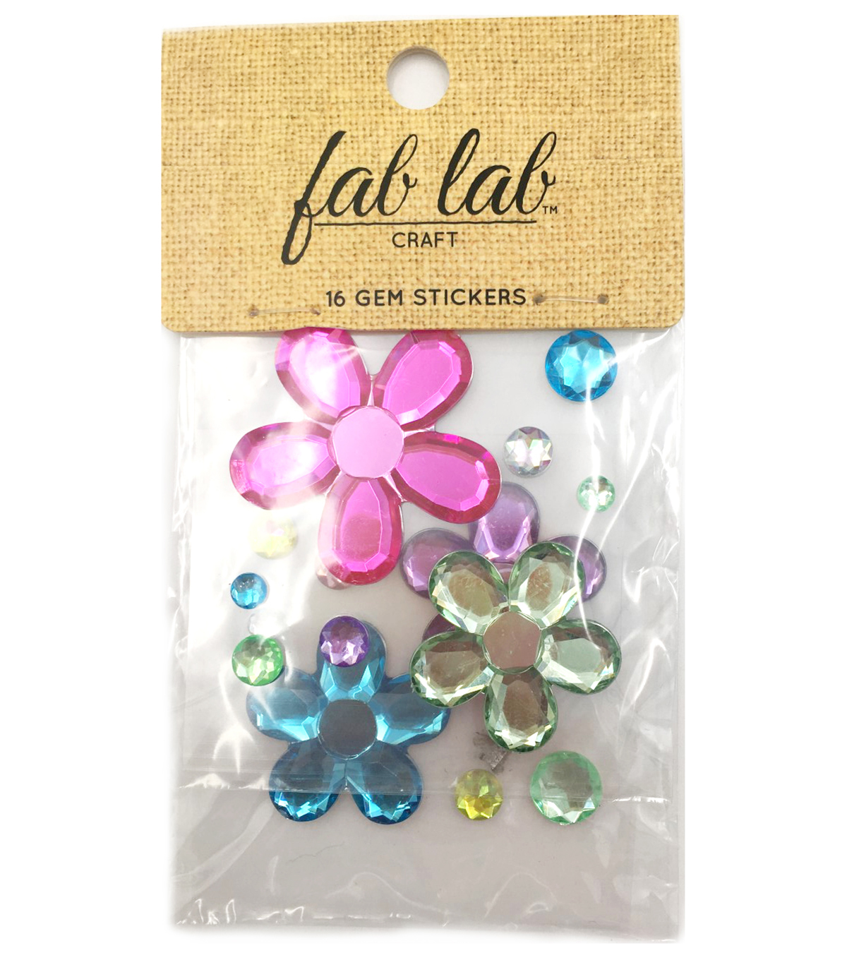 Adhesive Jewels Flower/Round Shapes, Ice Cream Colors