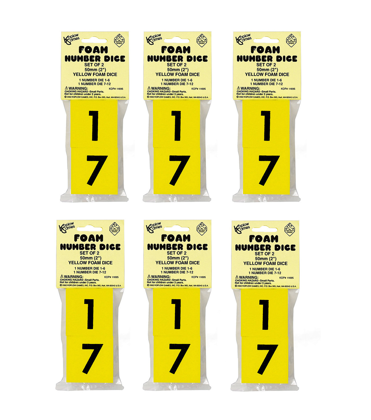Koplow Games Foam Operator Dice, 2\u0022, 2 Per Pack, 6 Packs