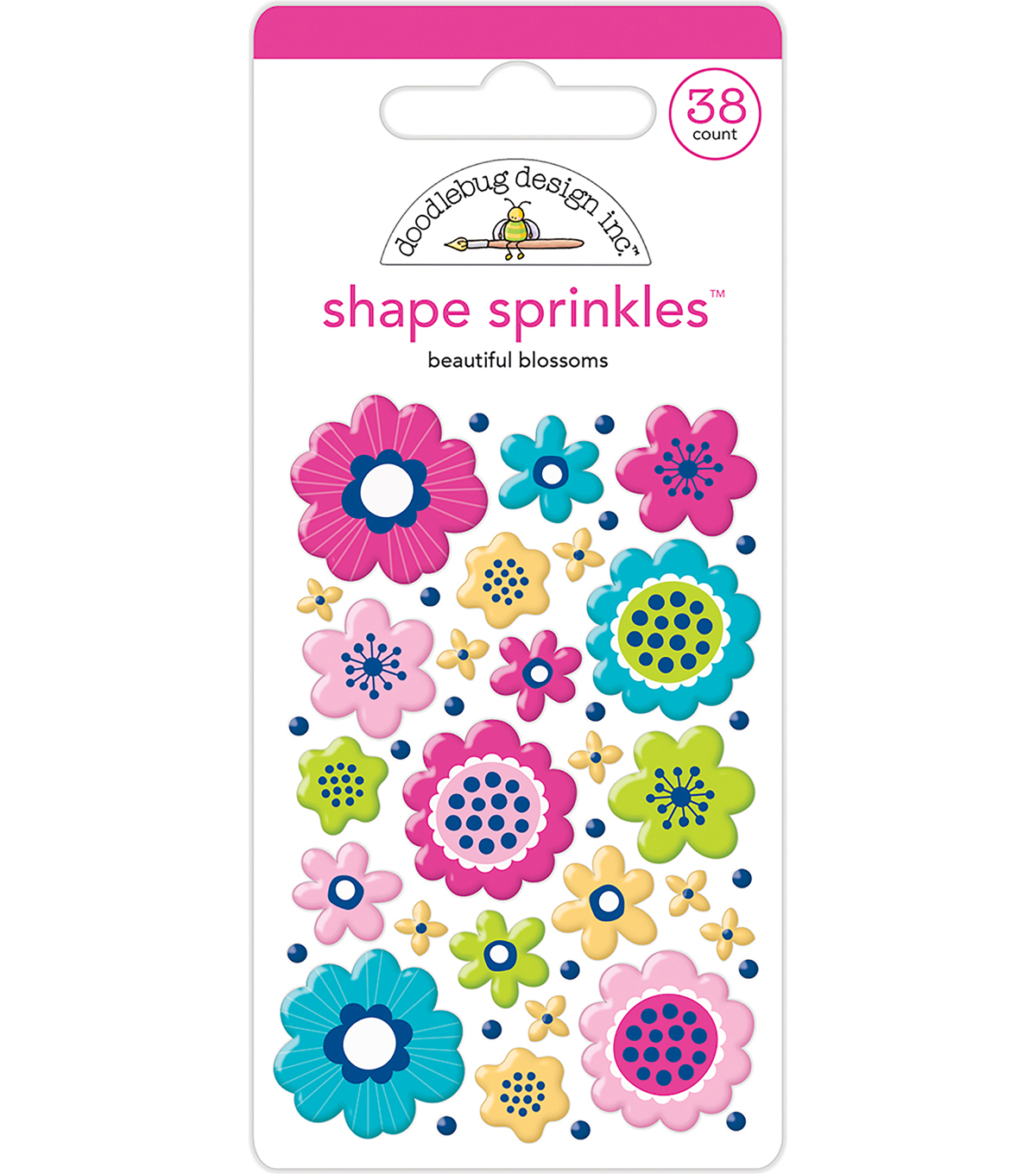 Doodlebug Design 38 pk Shape Sprinkles Enamel Stickers-Beautiful Blossom