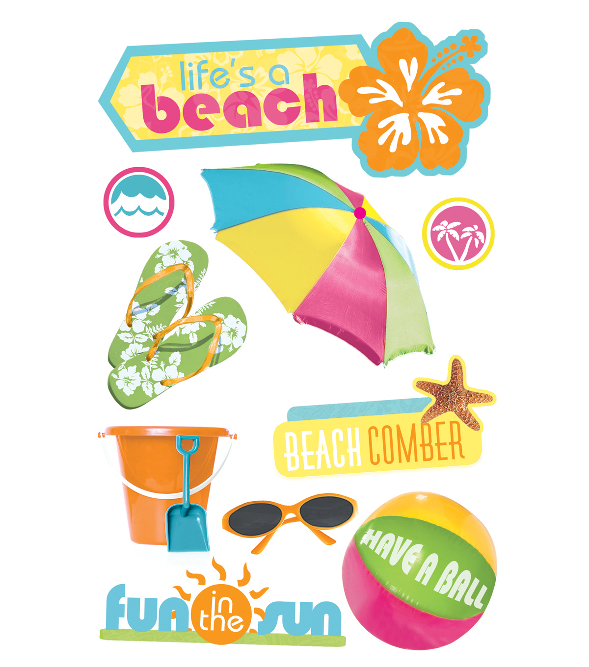 Life\u0027s a Beach 3-D Stickers
