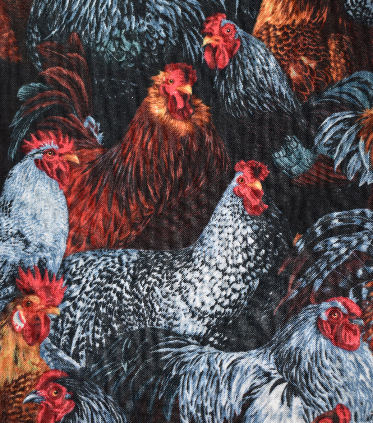 Novelty Cotton Fabric 44\u0027\u0027-Mixed Roosters