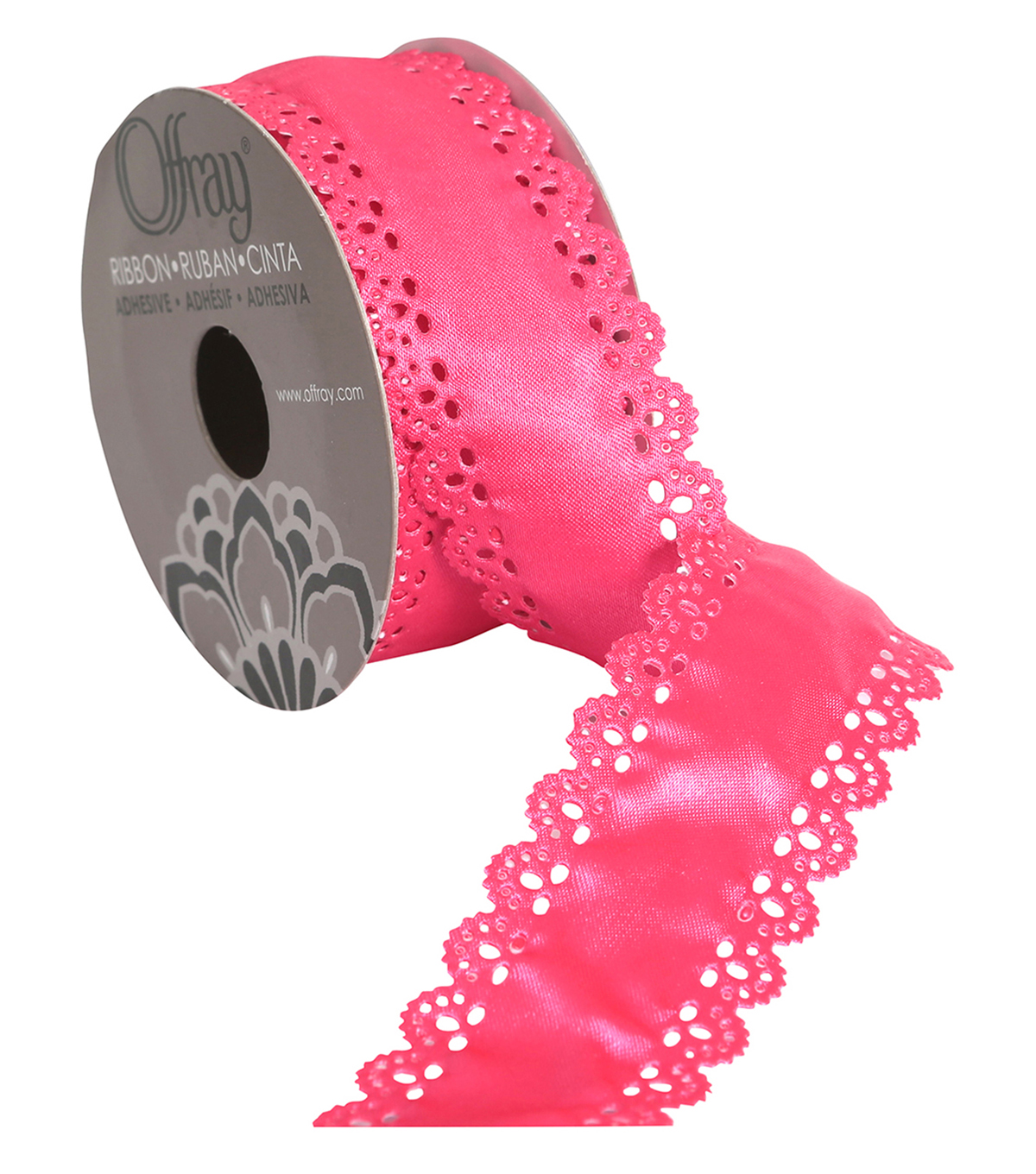 Scallop W Dots 1.5\u0022 Hot Pink Ribbon