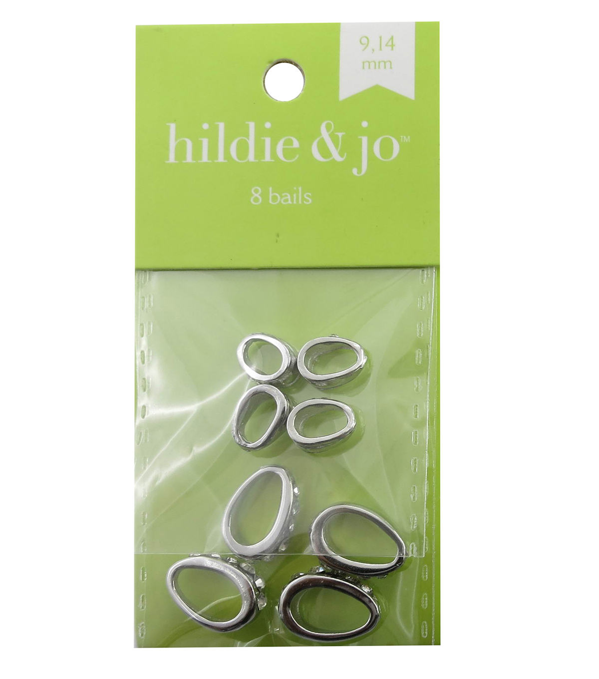 hildie & jo 8 Pack Bails with Clear Crystals-Silver
