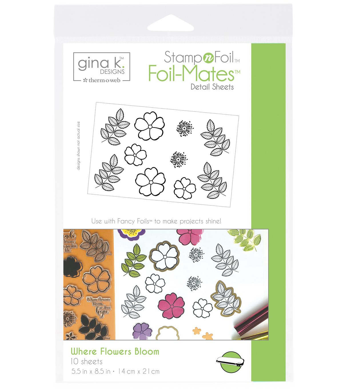 Gina K. Designs StampnFoil Foil-Mates Detail Sheets-Where Flowers Bloom