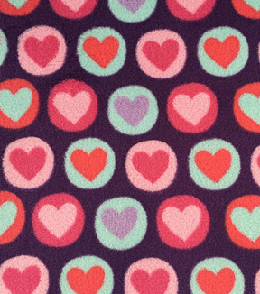 Ultra Fluffy Fleece Fabric -Purple Circle Hearts