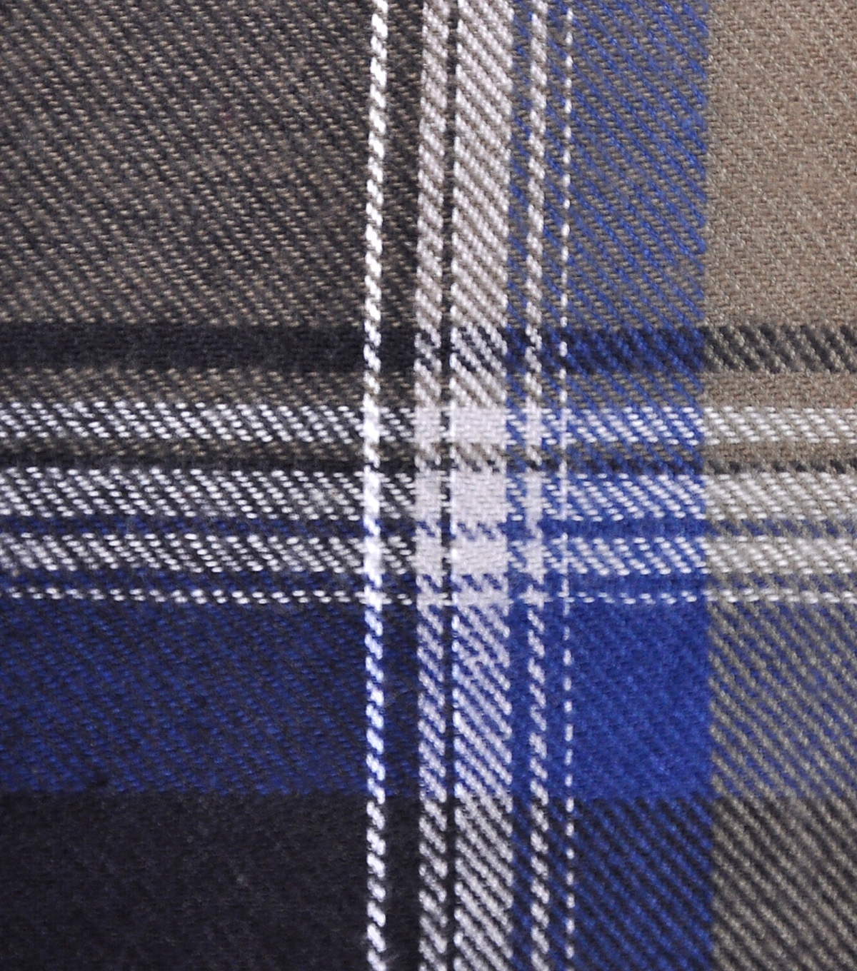 Cotton Shirting Fabric 42\u0027\u0027-Gray, White & Blue Plaid