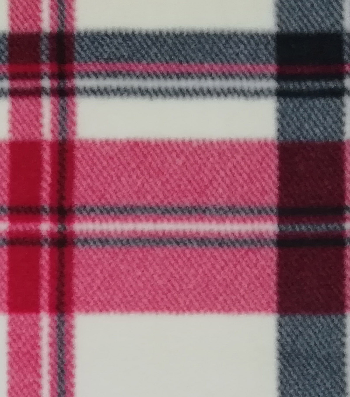 Luxe Fleece Fabric -Cream Red Black Plaid