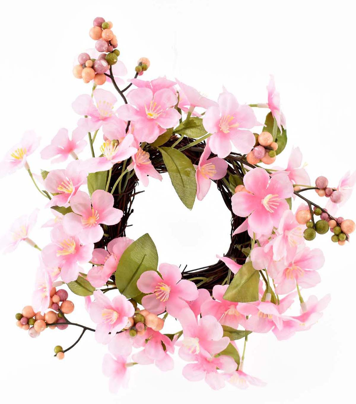 Fresh Picked Spring 9 Berry Leaves Blossom Floral Wreath Pink
