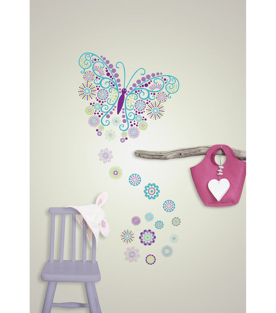 Wall Pops Social Butterfly Jeweled Wall Art Decal Kit, 14 Piece Set