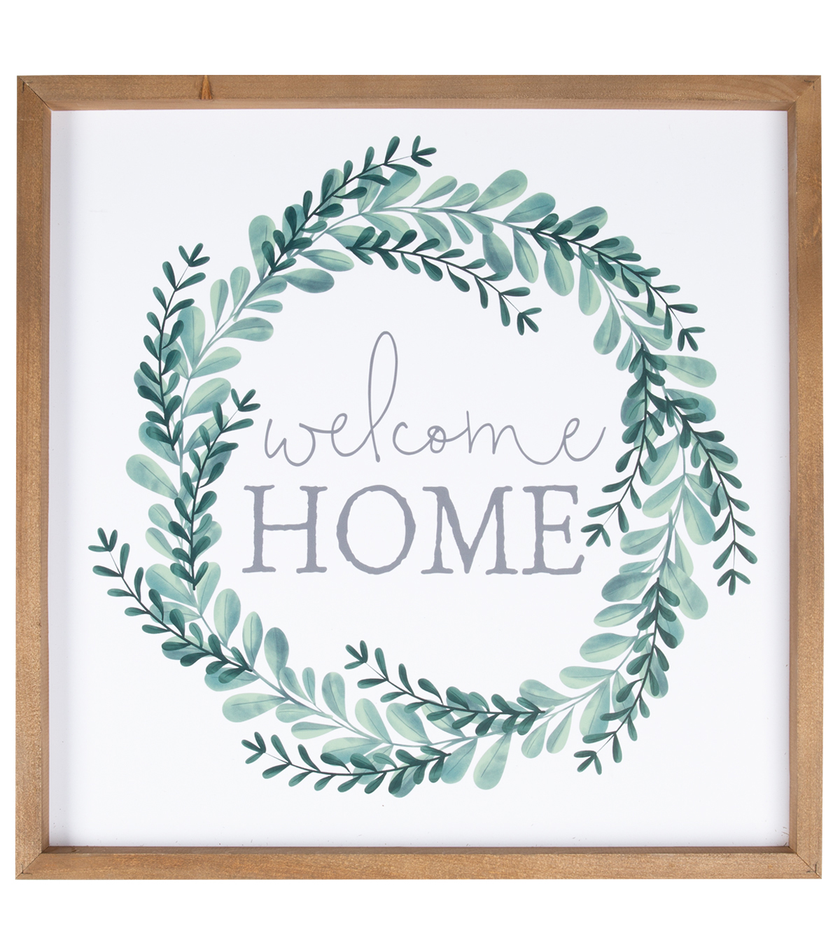 Simply Spring Framed Art Wall Decor Welcome Home Greenery Wreath