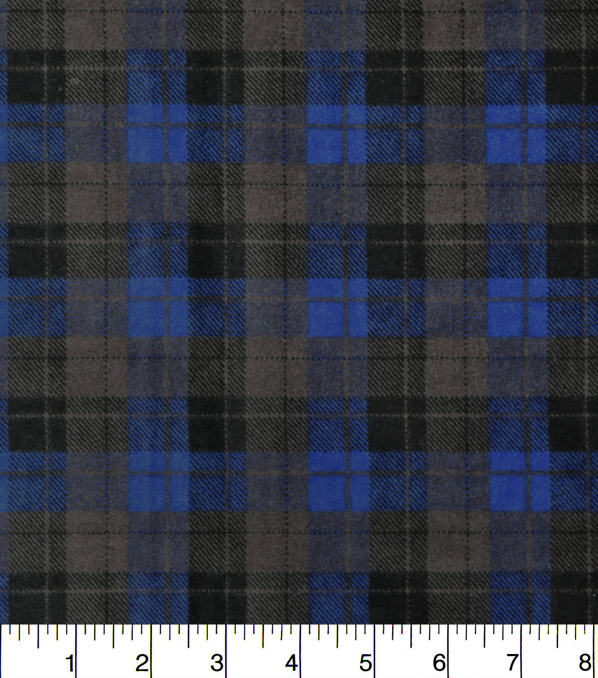 Snuggle Flannel Fabric -Skylar Blue Black Plaid